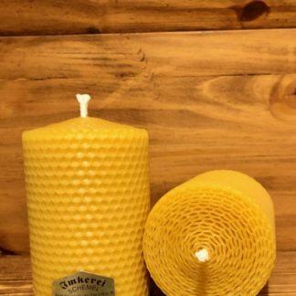 Gerollte Bienenwachskerze Länge 10cm - Durchmesser 7cm
