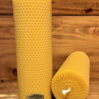 Gerollte Bienenwachskerze Länge 20cm - Durchmesser 7cm